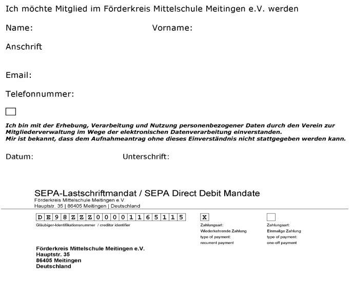 Förderverein Beitritt Formular